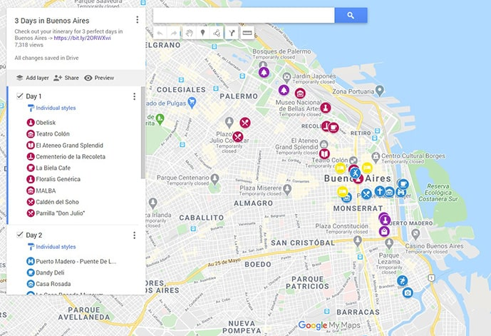 Map of Buenos Aires in 3 days