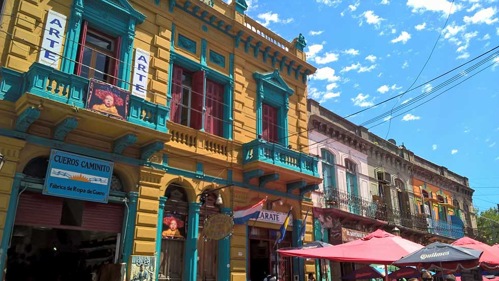 Colorful houses in La Boca in Buenos Aires, Argentina.