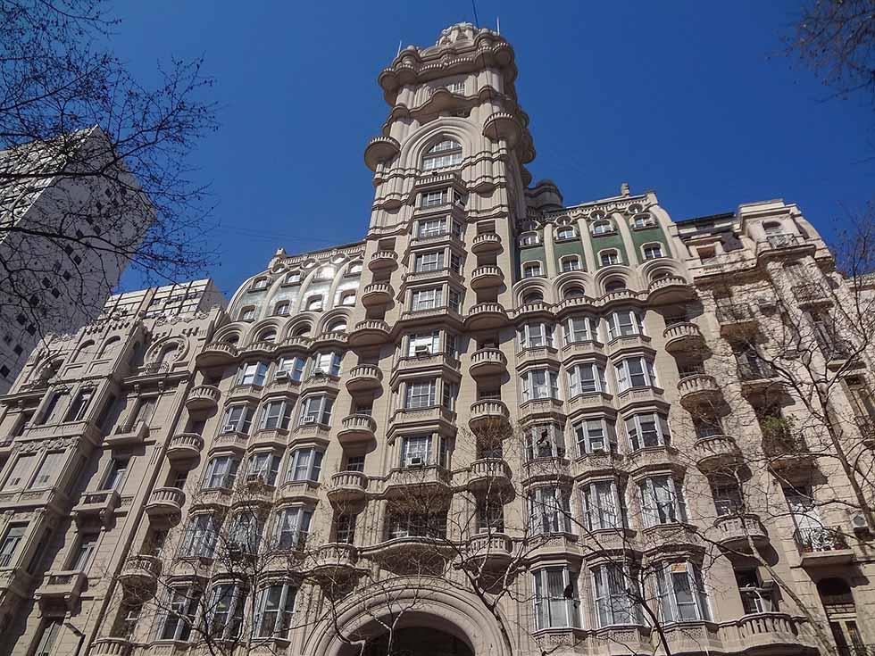 Facade of Palacio Barolo in Buenos Aires.