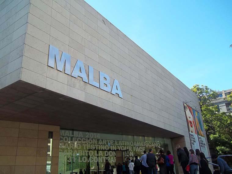 Gray facade of Malba in Buenos Aires