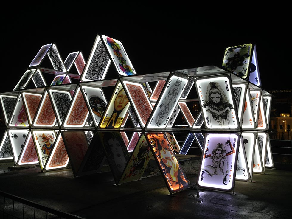 House of Cards in Amsterdam Light Festival in December.
