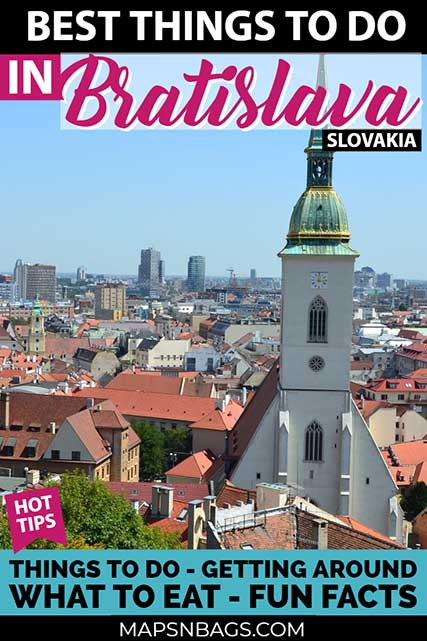Explore the beautiful Bratislava! Best things to do, including a map, Slovak food, visit to all main attractions, fun facts, interesting statues, restaurants and where to stay. This day trip from Vienna will surprise you. #ThingstoDo #Slovakia #Bratislava #OldTown #Photography #Tips #Castle #UFO #Nightlife #Travel #Map #Instagram #architecture #Daytrip #Hotel #restaurants