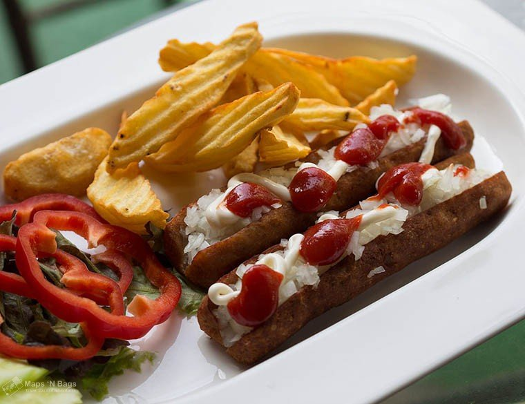 Frikandel speciaal with Dutch French fries in Amsterdam