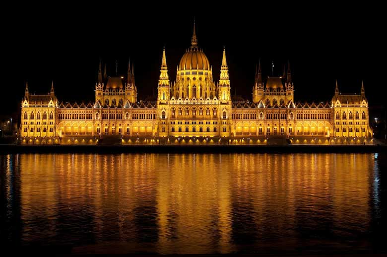 Hungarian parliament lit up at night in Budapest