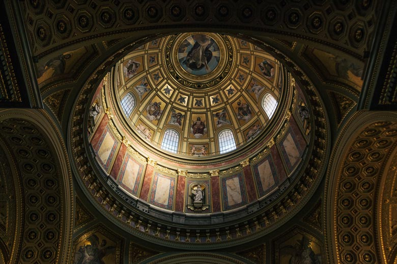 Interior dome of St Stephens Basilica in Budapest