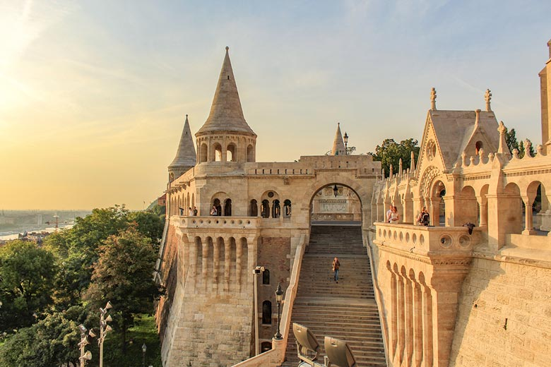 Tower and staircase Fishermans Bastion is a must visit during 3 days in Budapest