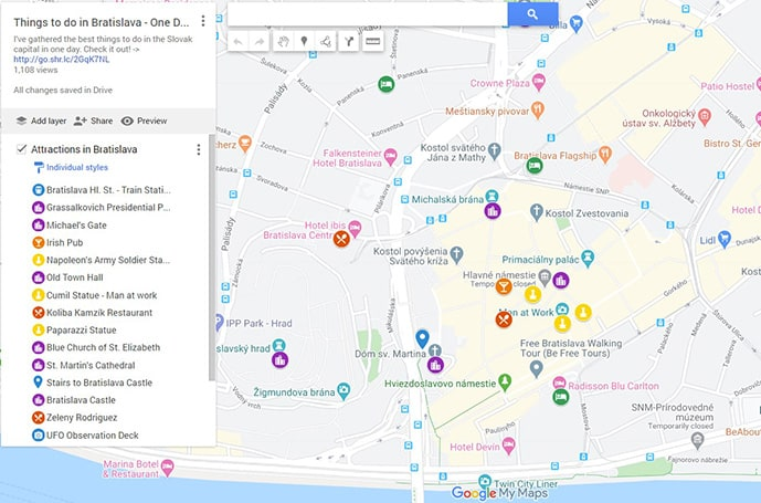 Map of the best things to do in Bratislava