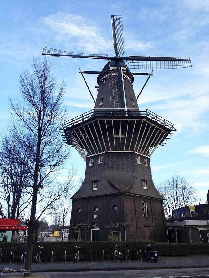 A brewery inside a windmill in Amsterdam in a cold and clear day.