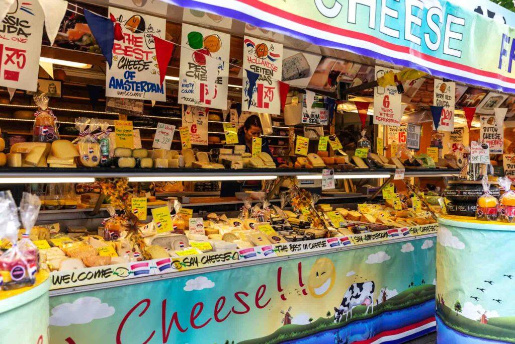 Cheese in Albert Cuyp Market in Amsterdam