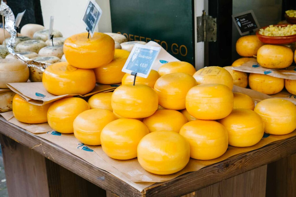Gouda cheese in a market in Amsterdam