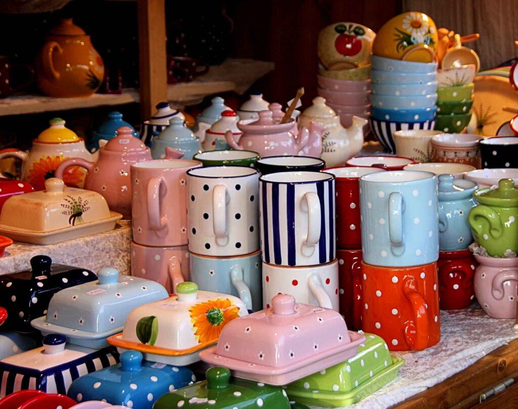 Colourful ceramic tableware in a market