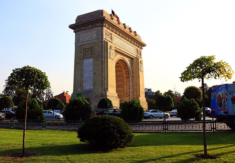 Triumphal Arch in a roundabout in Bucharest, Romania.