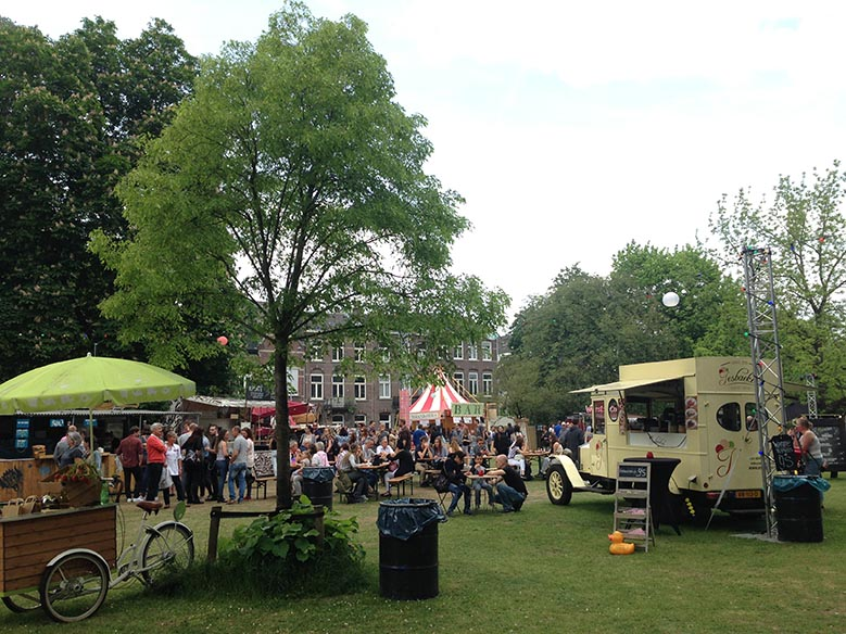 Food stalls from a festival in a park in Maastricht.