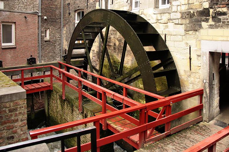 Old red mill in the Bisschopmolen in Maastricht.
