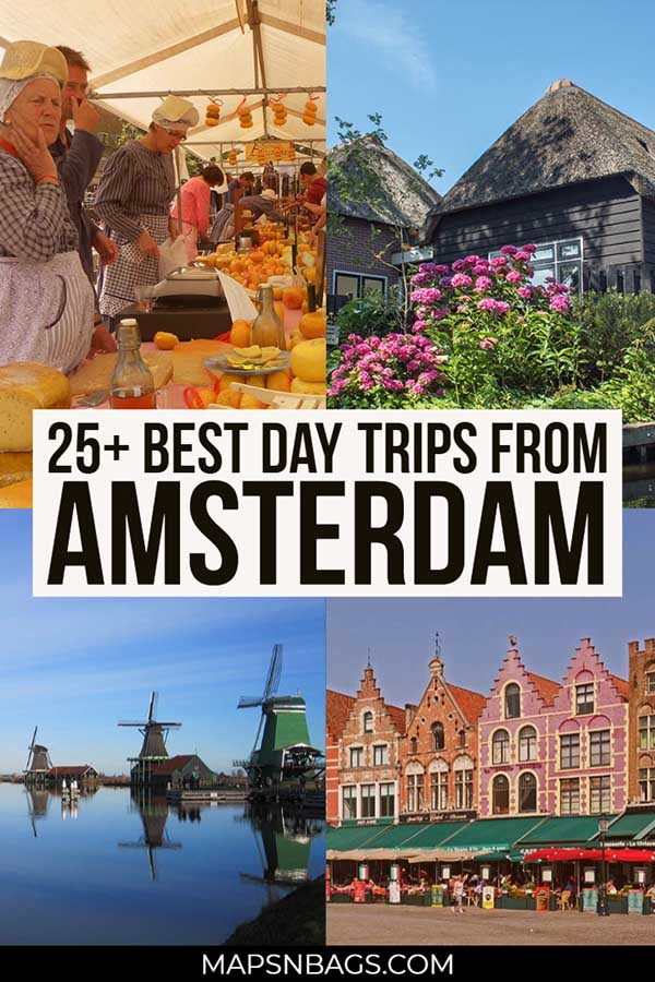 Check out the best day trips from Amsterdam! In this post, I have put together amazing cities and towns to visit in the Netherlands and in other countries. Including the Keukenhof Flower Garden, Rotterdam, Giethoorn, and Bruges. #daytrip #amsterdam #travel #netherlands #cities #Dutch #Europe #BucketLists #Cheese #tulips #field #holland