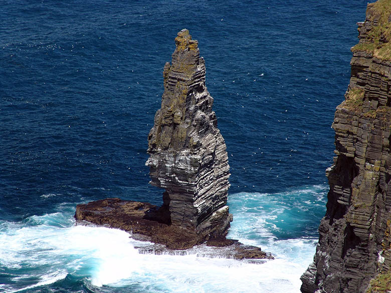 Sea stack at the Atlantic Ocean near the Cliffs of Moher, Ireland #Ireland #CliffsofMoher #Europe #Travel