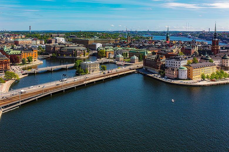 Aerial shot of a lake and the city of Stockholm in Sweden