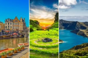 Collage of three images of the best Summer vacation spots in Europe