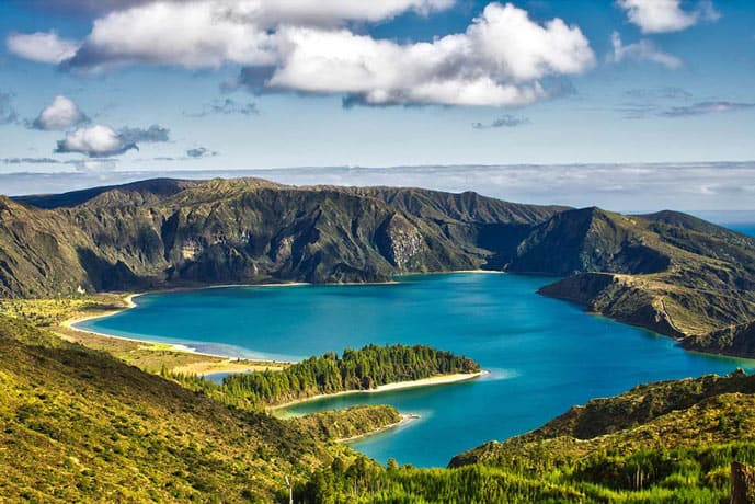 Lake of Fire in Azores. Blue Lake.