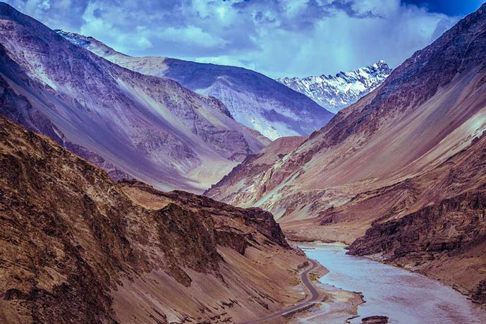 Ladakh in India. Mountains and river