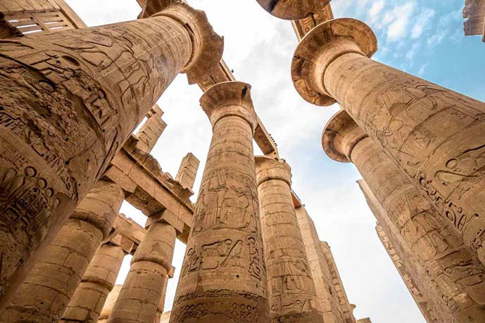 Antique columns in Luxor, Egypt