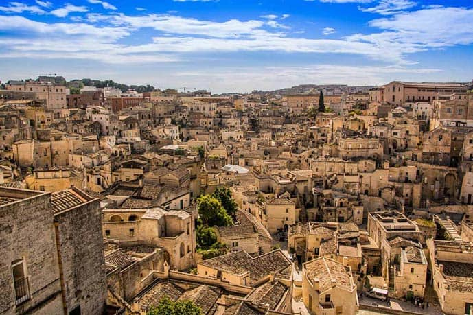 Matera in Italy seen from above