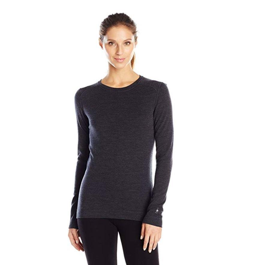 Woman wearing black long sleeved shirt