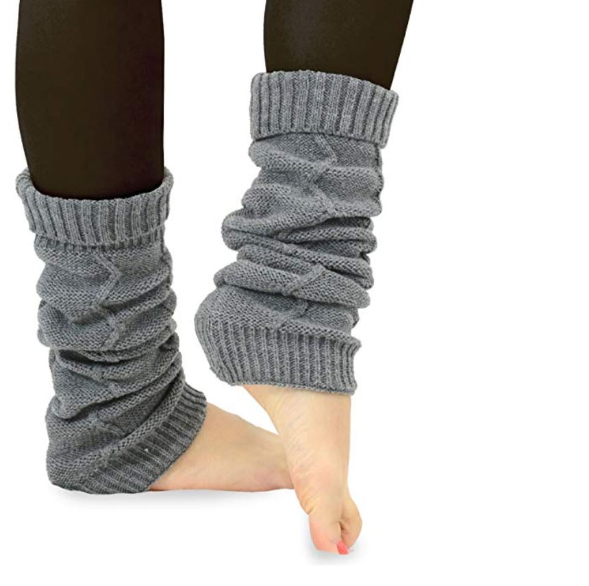 Gray leg warmers for winter in Europe.