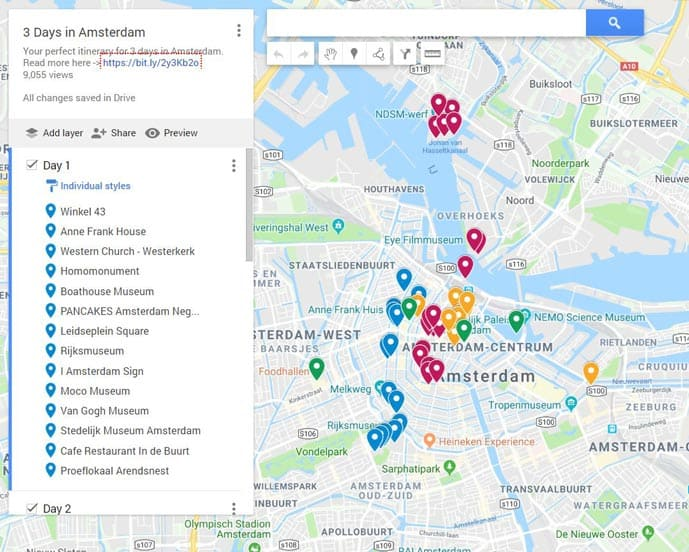 Map of three days in Amsterdam