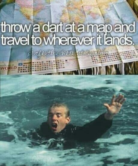 Travel meme of a map and a man drowning.