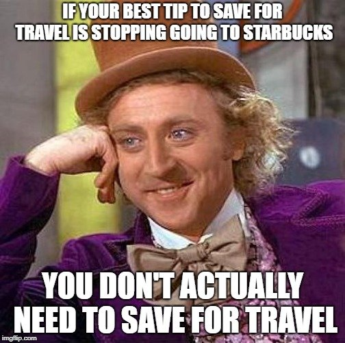Wonka wearing purple and smiling in a travel meme about coffee.