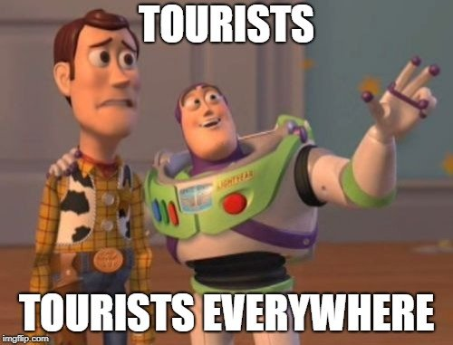 Buzz Lightyear and Woody on a travel meme.
