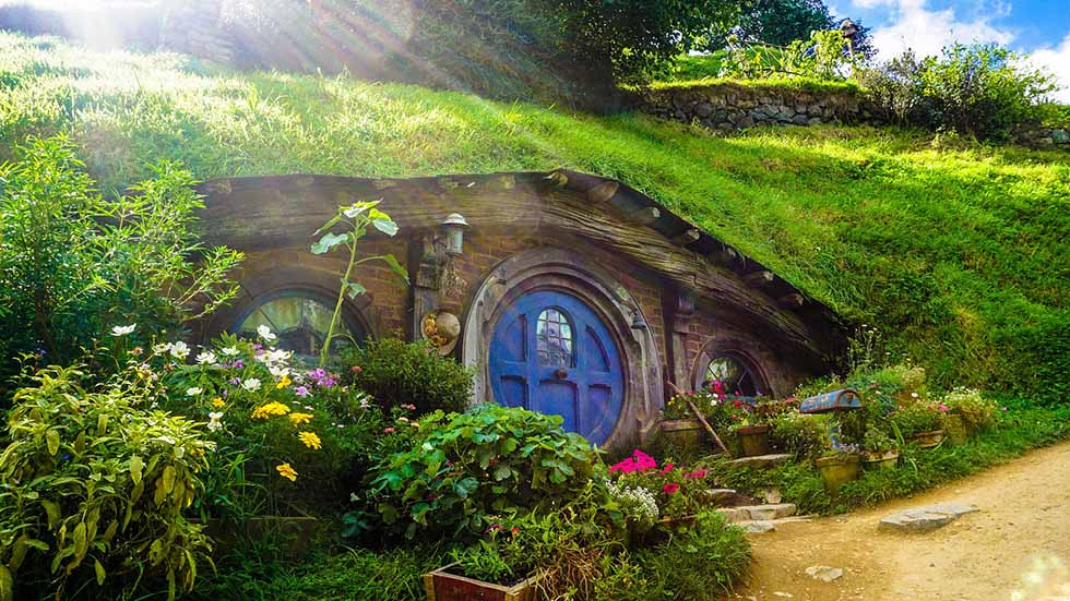 Round blue door at Hobbiton, New Zealand