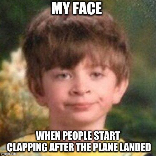 Little boy is not amused.