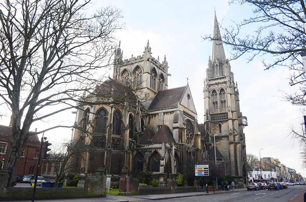 Somber church in the winter in Cambridge