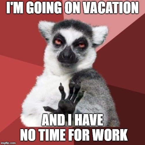 Lemur in a travel meme and a red background