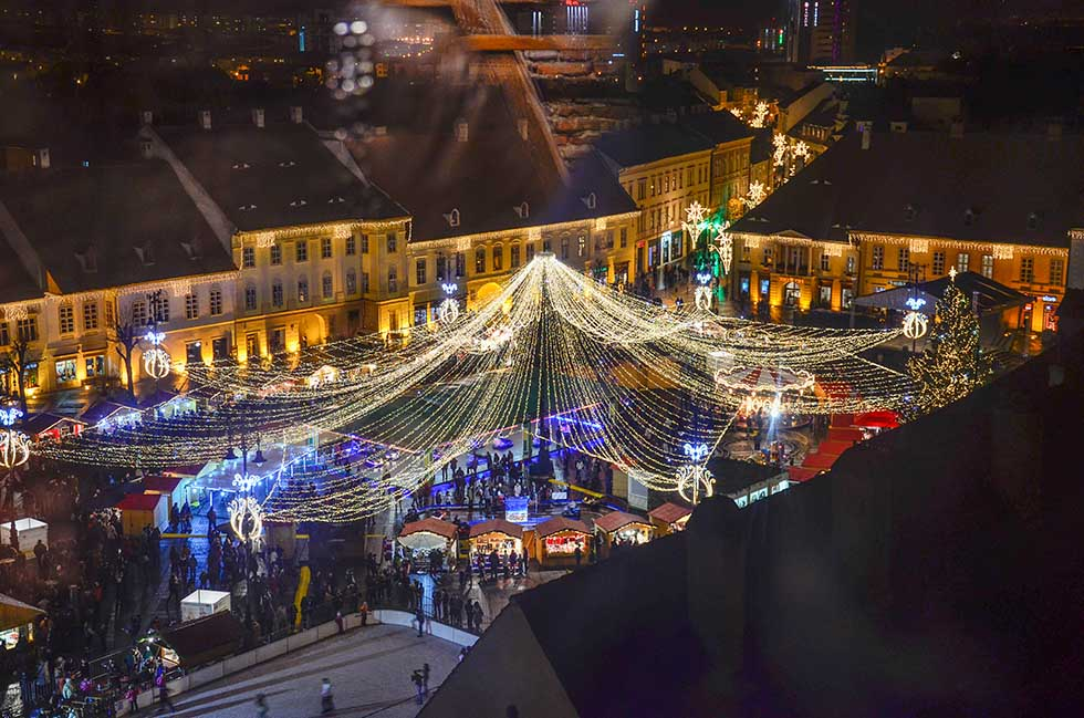 View over the lights of a Christmas market in Sibiu, Romania