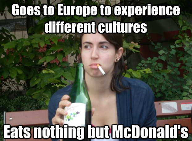 Girl smoking and drinking in a travel meme.