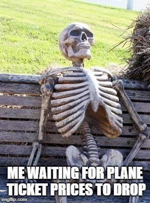 Skeleton on a bench travel meme.