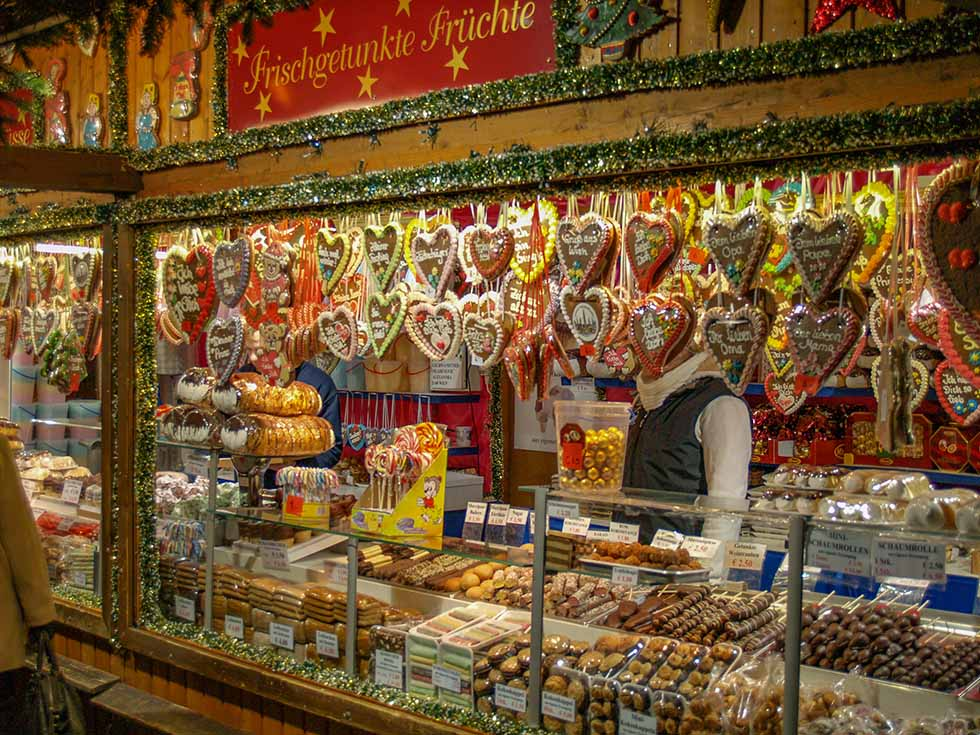 Stall selling chocolate at a Christmas market in Vienna