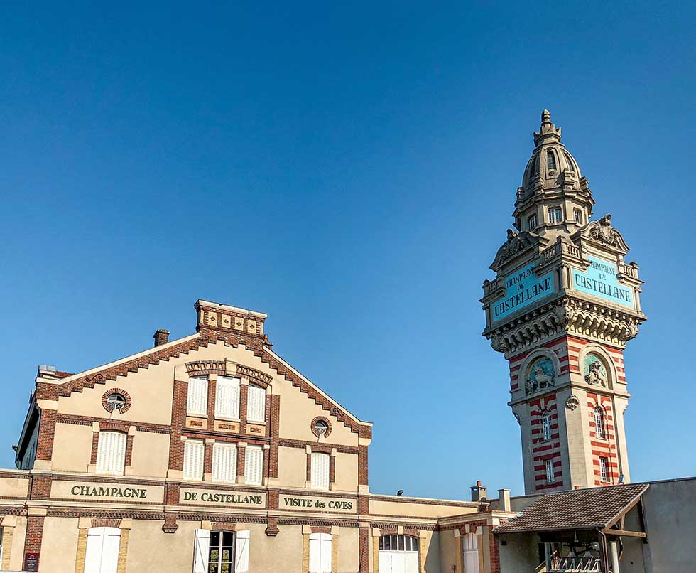 Blue sky in Epernay, Champagne, France