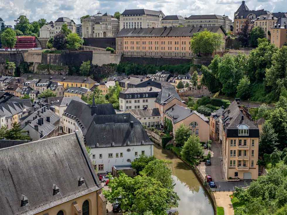 View over houses in Luxembourg city in Europe.
