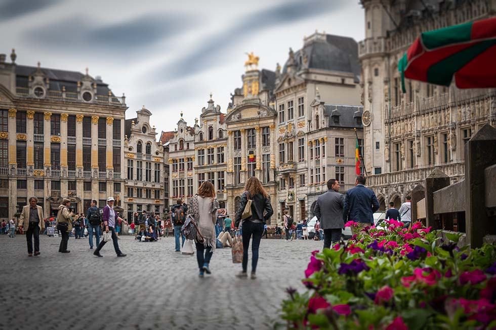 People walking in the Grote Markt Square in Brussels, Belgium
