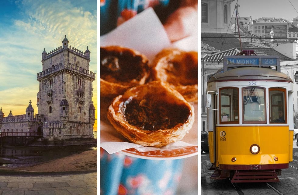 Collage of three images in Lisbon