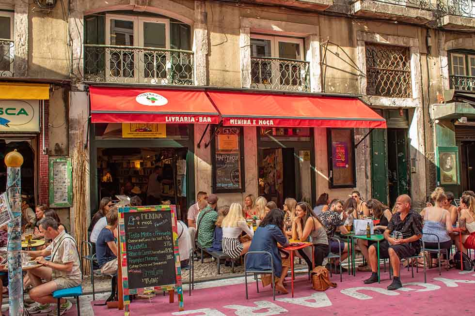 Bar at the Pink Street in Lisbon #Portugal #travel #Europe