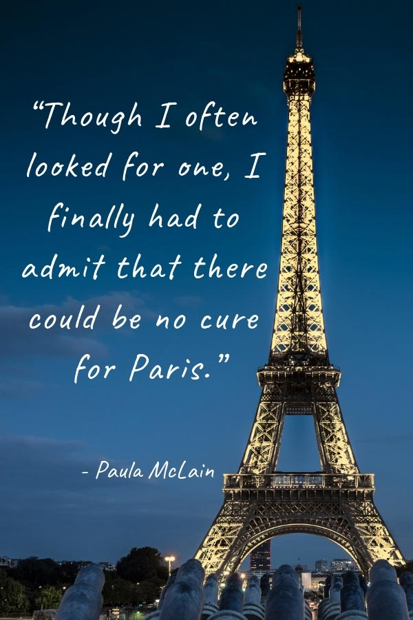 Quote about Paris on a photo of the Eiffel Tower in Paris, France, in the evening