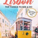 Pinterest Graphic of an yellow tram in Lisbon