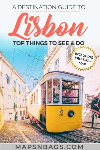 Pinterest Graphic of an yellow tram in Lisbon