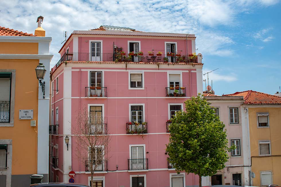 Pink building in Lisbon #Portugal #travel #Europe