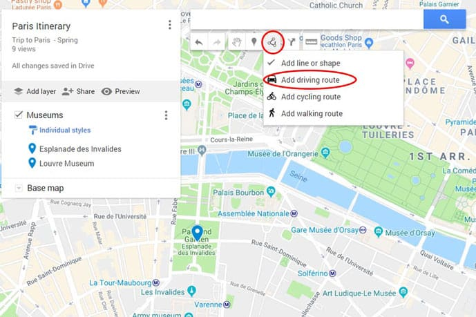 Planning a trip with Google Maps